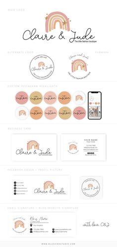 Boutique Logo, Kids Boutique, Branding Kit, Branding Design, Business Card Design, Business Cards, Rainbow Logo, Elegant Logo, Social Media Icons