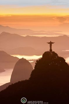 Aerial view of Rio de Janeiro city, with the Corcovado and Sugar Loaf Moun...Sunrise, Brazil