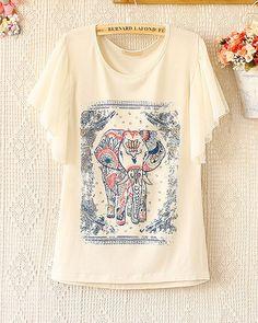 $24.00 | Spring and summer fashion  printed elephant  chiffon fly sleeve T-shirt