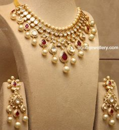 Polki Ruby Necklace and Earrings Set photo
