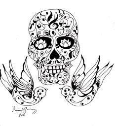 Sugar Skull Tattoo by zozi333 on DeviantArt