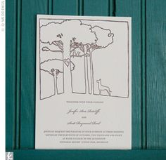 Jenifer and Scott personalized their wedding invitations in two ways: They wrote their initials in the heart on the tree and had a Great Dane looking up at them, a nod to the groom's passion.