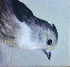 Tiny Grey Bird by Micki Thomas Oil ~ 6 x 6