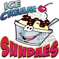 "36"" Ice Cream Sundae Concession Trailer Food Truck Restaurant Cart Sign Decal"