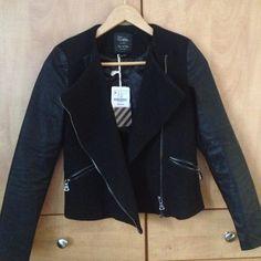 "Spotted while shopping on Poshmark: ""Zara Wool and Leather Biker Jacket! BNWT""! #poshmark #fashion #shopping #style #Zara #Jackets & Blazers"