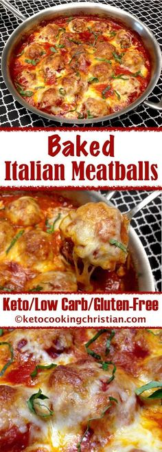 no carb diets Baked Italian Meatballs - Keto, Low Carb & Gluten Free Ketogenic Recipes, Low Carb Recipes, Beef Recipes, Healthy Recipes, Meatloaf Recipes, Meatball Recipes, Meatball Dinner Ideas, 0 Carb Foods, Low Carb Food