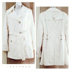 """EXCELLENT COND """"Platinum"""" Light Short Trench Coat PERFECT CONDITION & Freshly Cleaned bright white lightweight short trench coat/ rain jacket. Features a detachable hood, decorative buckles at the wrists and attached belt with the same buckles at the back which keeps the belt attached. Very nice jacket. Outer shell-100% polyester Inside Liner-100% polyester. Size Medium. Platinum Jackets & Coats Trench Coats"""