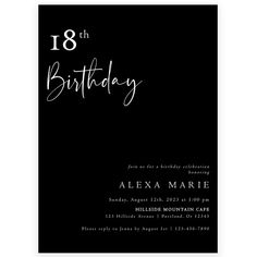 Minimalist 18th Birthday Invitation | Forever Your Prints