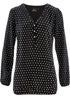 Blusa de viscose poá preto/branco bolinhas encomendar agora na loja on-line bonprix.de  R$ 89,90 a partir de Blusa manga longa de viscose, com estampa de ...