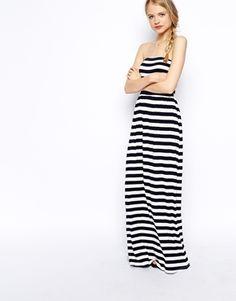 Image 1 ofASOS Bandeau Maxi Dress in Stripe