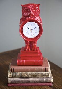 Time to Fly Clock. Looking up from your novel to check this bold, statuesque owl clock, you realize its about time to swoop over to the librarys loft for a group study session! #multi #modcloth