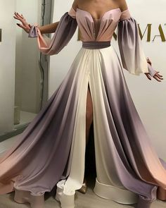 gradient prom dresses long off the shoulder elegant 2021 prom gown with side slit vestido de longo Evening Dresses, Prom Dresses, Formal Dresses, Elegant Dresses, Pretty Dresses, Dress Dior, Dress Lace, Couture Dresses, Fashion Dresses
