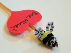 "Cool project from www.kiwicrate.com/diy: ""Bee Mine"" Honey Stick Valentine"