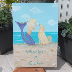 Wish Upon a Starfish - Hand painted wood beach sign