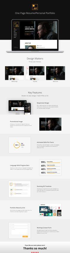 """다음 @Behance 프로젝트 확인: """"ZET - One Page Resume/Personal Portfolio HTML Template"""" https://www.behance.net/gallery/35370405/ZET-One-Page-ResumePersonal-Portfolio-HTML-Template"""
