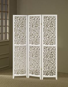 Asia Direct 3 panel white finish wood scrolled design shoji screen room divider with elegant design 3 panel white finish wood scrolled design shoji screen room divider with elegant design . Made with painted wood finish. Room Divider Screen, Room Dividers, Partition Screen, Window Screens, Wooden Trellis, Shoji Screen, Superior Room, White Paneling, Scroll Design