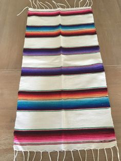 Mexican Serape white table runner SMALL. Christmas by MesaChic