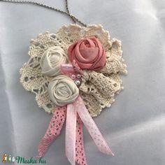 Rózsás lagenlook shabby textil ékszer romantikus nyaklánc (kiseri) - Meska.hu