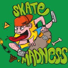 Skateboard madness is a T Shirt designed by davidooone to illustrate your life and is available at Design By Humans