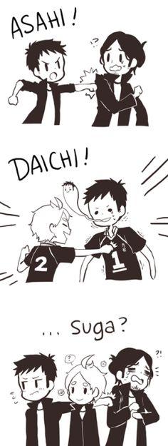 electricprince: Karasuno third years' power balance:daichi can punch asahi, suga can punch daichi, no one can touch suga