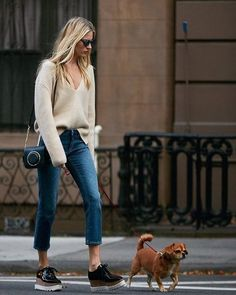 Sweater: tumblr beige v neck denim jeans blue jeans cropped jeans shoes black shoes platform shoes