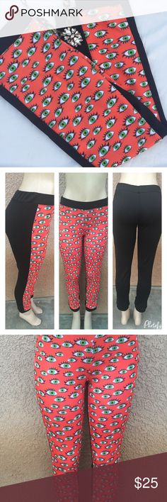 ❤Evil eye printed pants Very comfortable pants in two toned .  Materials is 95% polyester 5% spandex .  Measurements lying flat : small - waist :26 , Hips :30 length :35 . 🔹Large -waist :28 , Hips :36 length :37 . NWOT Boutique Pants Track Pants & Joggers