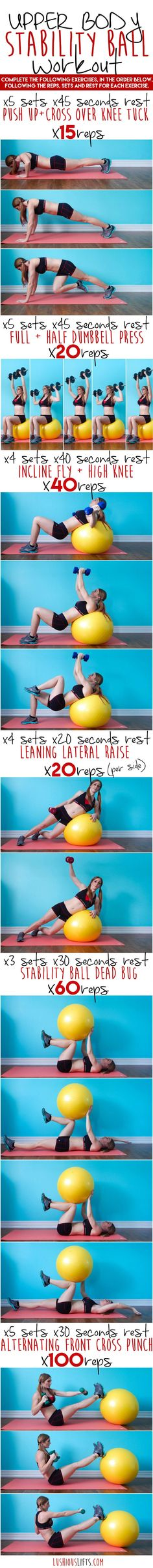 Upper Body Stability Ball Workout || lushiousLIFTS.com