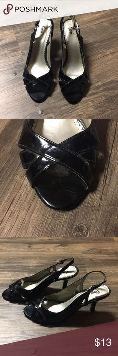 Black Heels Black heels are in excellent condition. Adjustable straps. Size 8 1/2. Payless Shoes Heels