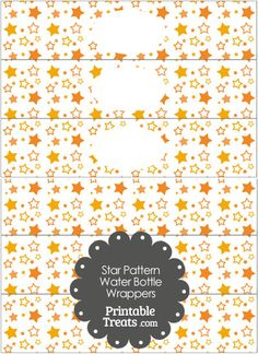 Orange Star Pattern Water Bottle Wrappers from PrintableTreats.com