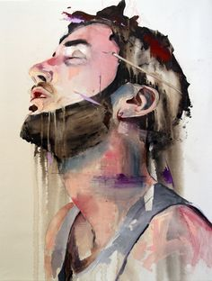 "Lou Ros - ""DLR2 from FACES II"" mixed media on canvas 2012.  Through the colours, brush strokes, composition, background and rhythm of the painting, I attempt to create works which truly represent bodies in a space without distortion."