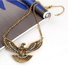 Punk Fashion Clear Crystal Bronze Eagle Pendant Collar Statement Necklace #Amy #Necklace