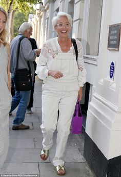 Emma Thompson arrives at the BBC in quirky white dungarees Emma Thompson, Short Hair Cuts For Women, Short Hair Styles, White Dungarees, Grey Hair Don't Care, Act For Kids, Emma Style, Mature Fashion, Catherine Deneuve