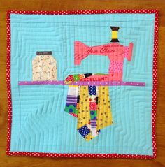 Paper pieced sewing machine Mini Quilt Pattern by Charise Creates