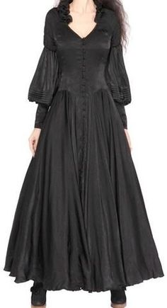 Black Long Vintage Goth-Style Victorian Dress