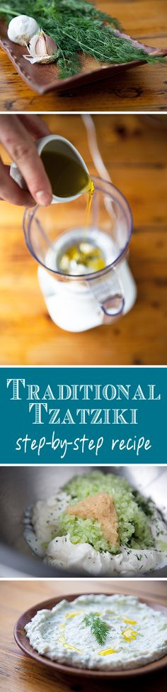 Omg tzatziki is my favorite greek dip! Did you know that Tzatziki is traditionally mixed by hand? Learn more about this perfect Greek summer dip. Authentic Tzatziki Recipe, Tzatziki Recipes, Tzatziki Sauce, Sauces, Greek Dishes, Tasty, Yummy Food, Cooking Recipes, Healthy Recipes