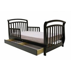Dream On Me Deluxe Sleigh Toddler Bed with drawer with Drawer in Black - 641-K