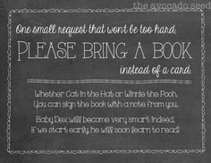 Please bring a book instead of a card for baby shower. Great idea!