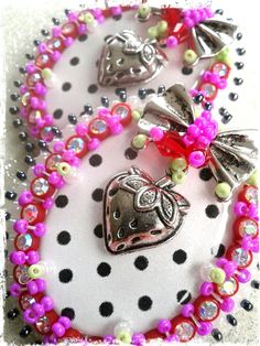 """""""be wary of a girl in berries""""   large studded earrings   available at Create Beautiful Beads on Facebook"""