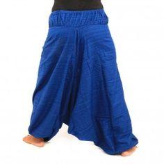 Mezcla de algodón pantalones de harén - azul