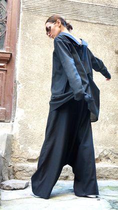 NUOVA collezione sciolto lino nero Harem pantaloni / di Aakasha