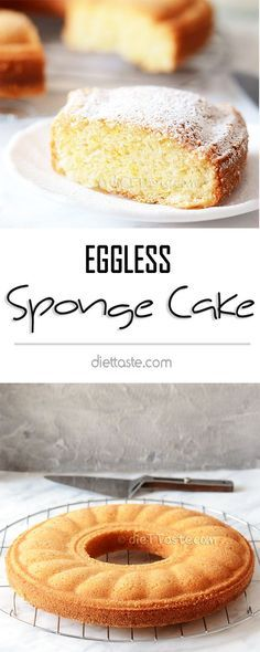 Eggless Sponge Cake – soft, spongy, springy, moist and sooo delicious, you won't believe there are no eggs in the recipe! y Postres Eggless Desserts, Eggless Recipes, Eggless Baking, Vegan Desserts, Baking Recipes, Dessert Recipes, Eid Recipes, No Egg Desserts, Donut Recipes