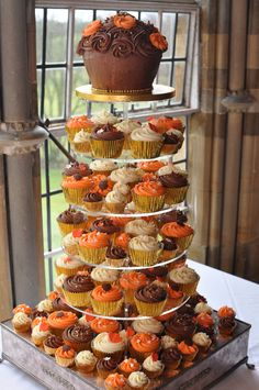 Autumn colours cupcake wedding - cream, gold, orange and b… | Flickr