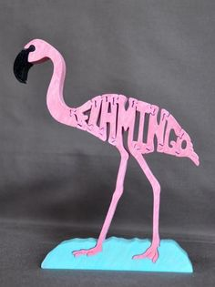 Scroll Saw Wooden Puzzles   Pink Flamingo Bird Puzzle Wooden Toy Hand Cut with Scroll Saw