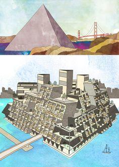 Richard Buckminster Fuller | Ciudad Tetraedro (Tetrahedron City, 1968) y Comunidad Flotante Tritron (Triton Floating community, 1967) |