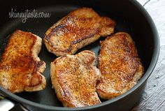 Yield: 4 Servings Ingredients 4 thin (14 oz) boneless pork loin chops, center cut 1/4 tsp paprika 1/2 tsp garlic powder 1/2 tsp dried sage 1/2 tsp dried thyme salt and fresh cracked pepper to taste 1 tsp butter 2 tbsp flour (leave out for gluten free) 1/2 cup app