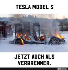 Tesla Model S - Now also as a combustion engine. Really Funny, Funny Cute, Tesla Model S, Audi, Bmw Autos, Funny Memes, Jokes, Good Humor, Cartoon Network