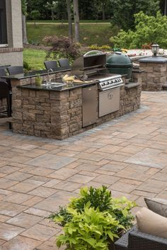 Eagle Bay Pavers - Hardscapes - Concrete Pavers - Patio Pavers - Retaining Walls - get our best ideas for outdoor kitchens, including charming uncovered kitchen decor, backyard decor - Outdoor Kitchen Patio, Outdoor Kitchen Design, Outdoor Decor, Outdoor Kitchens, Small Patio, Kitchen Decor, Outdoor Living, Out Door Kitchen Ideas, Outdoor Grill Area