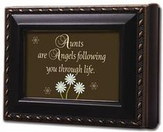 #Aunt Keepsake Box by Cottage Garden Aunts are Angels following you through life. Replace art with a personal photo, or keep in frame for a sweet sentiment! #jewelrybox