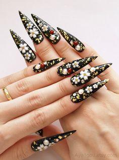 Fake #nails long nails #stiletto nails #Japanese nail art by Aya1gou, $21.00