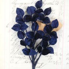 Vintage Navy Blue Velvet Leaf Spray  -  Last One. $6.49, via Etsy.